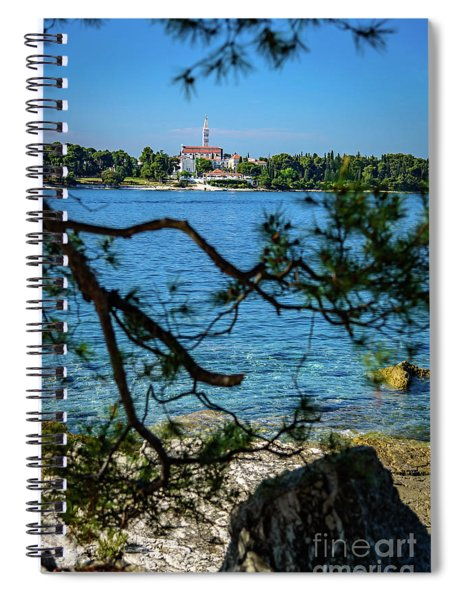 Rovinj Seaside Through The Adriatic Trees, Istria, Croatia Spiral Notebook
