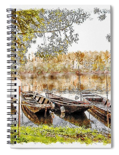 Rowing Boats And Punts On The Loire France Spiral Notebook