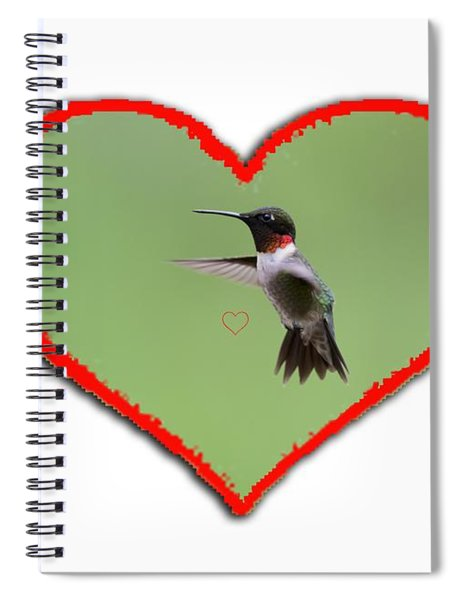Ruby-throated Hummingbird In Heart Spiral Notebook