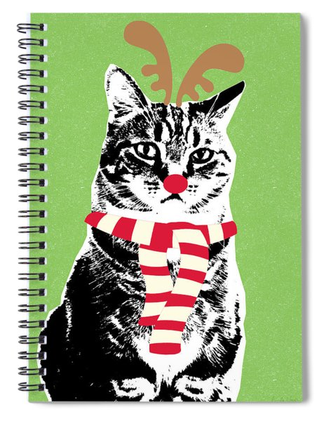 Rudolph The Red Nosed Cat- Art By Linda Woods Spiral Notebook