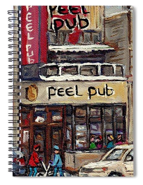 Rue Peel Montreal Winter Street Scene Paintings Peel Pub Cafe Republique Hockey Scenes Canadian Art Spiral Notebook