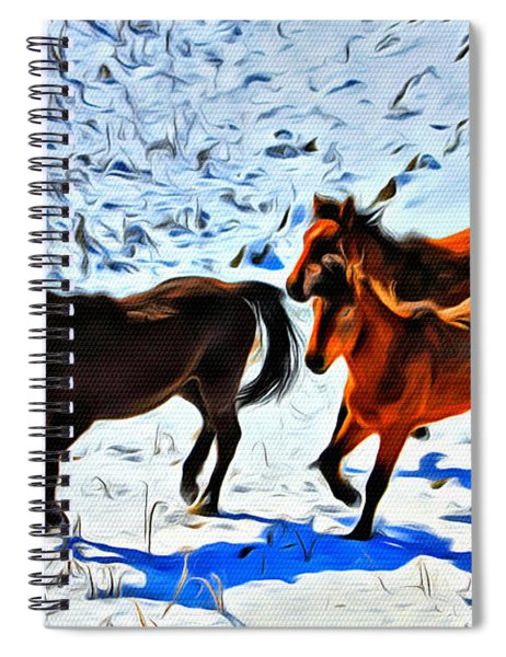 Running Horses In The Snow Spiral Notebook
