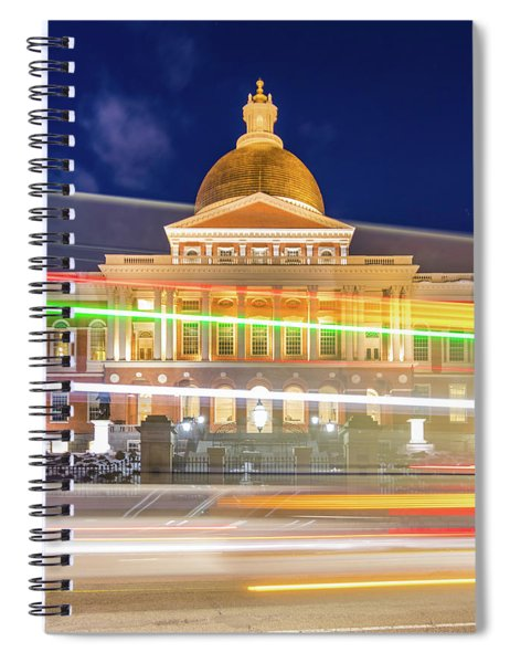 Rush Hour In Front Of The Massachusetts Statehouse Spiral Notebook