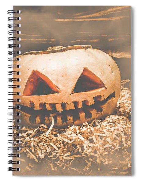 Rustic Barn Pumpkin Head In Horror Fog Spiral Notebook