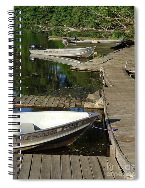 Rustic Dock With Boats Spiral Notebook