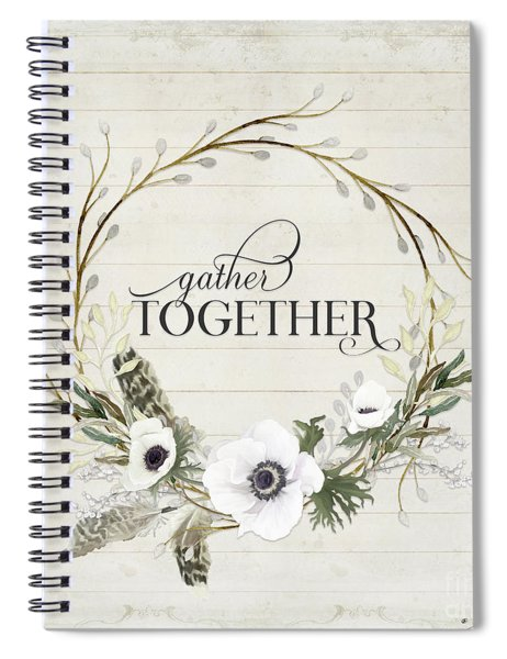 Rustic Farmhouse Gather Together Shiplap Wood Boho Feathers N Anemone Floral 2 Spiral Notebook