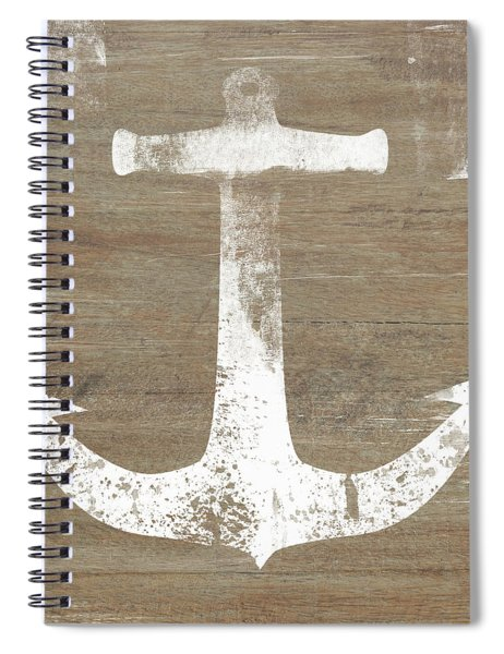 Rustic White Anchor- Art By Linda Woods Spiral Notebook