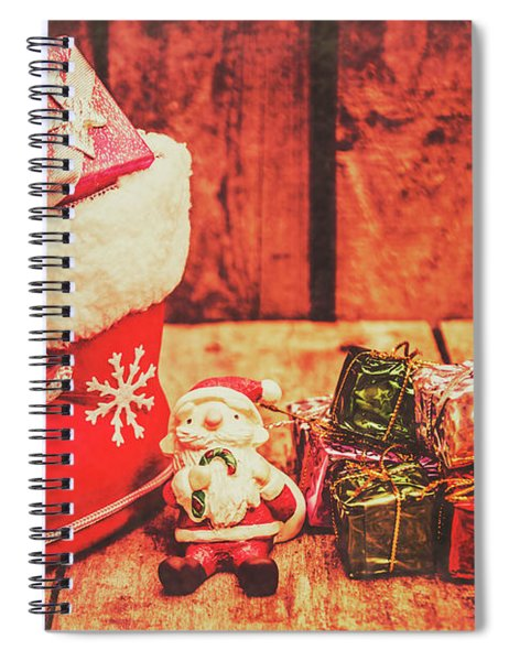 Rustic Xmas Decorations Spiral Notebook