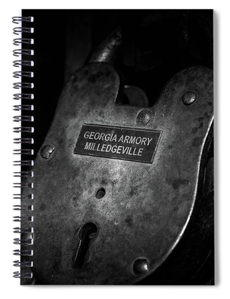 Spiral Notebook featuring the photograph Rusty Lock In Bw by Doug Camara