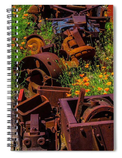Rusty Train Parts In Poppies Spiral Notebook