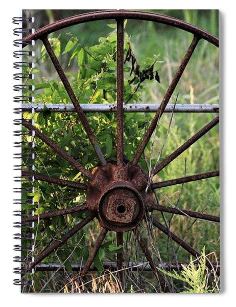 Rusty Wagon Wheel On Fence Spiral Notebook