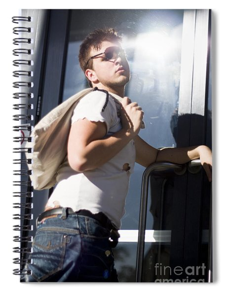 Sacked Man Entering Unemployment Office Spiral Notebook