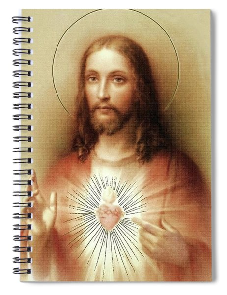Spiral Notebook featuring the mixed media Sacred Heart Of Jesus by Movie Poster Prints