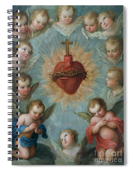 Sacred Heart Of Jesus Surrounded By Angels Spiral Notebook