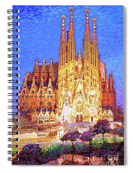 Sagrada Familia At Night Spiral Notebook