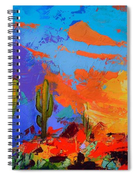 Saguaros Land Sunset By Elise Palmigiani - Square Version Spiral Notebook
