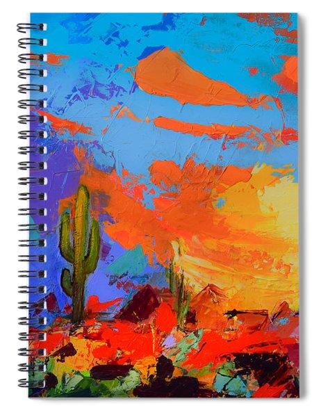 Saguaros Land Sunset Spiral Notebook