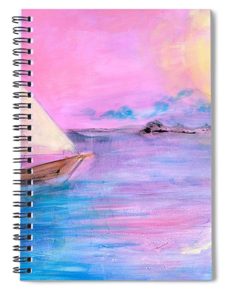 Sailboat In Pink Moonlight  Spiral Notebook