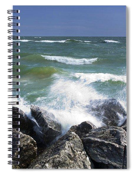 Sailboat Sailing Off The Shore At Ottawa Beach State Park Spiral Notebook