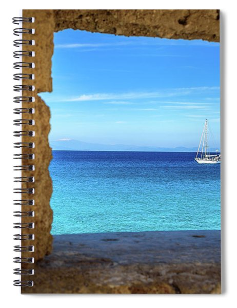 Sailboat Through The Old Stone Walls Of Rhodes, Greece Spiral Notebook