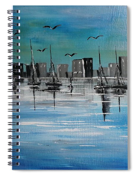 Sailboats And Cityscape Spiral Notebook