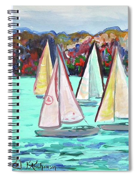 Sailboats In Spain I Spiral Notebook by Kristen Abrahamson