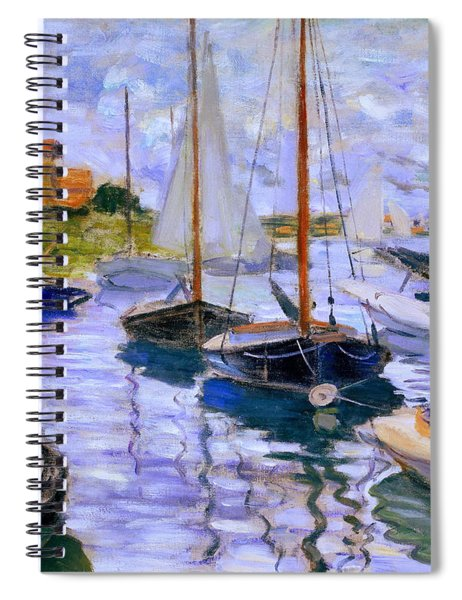Spiral Notebook featuring the painting Sailboats On The Seine At Petit Gennevilliers Claude Monet 1874 by Claude Monet