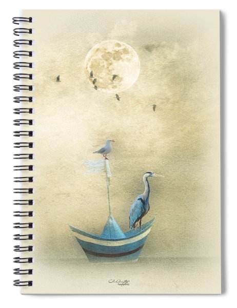 Sailing By The Moon Spiral Notebook