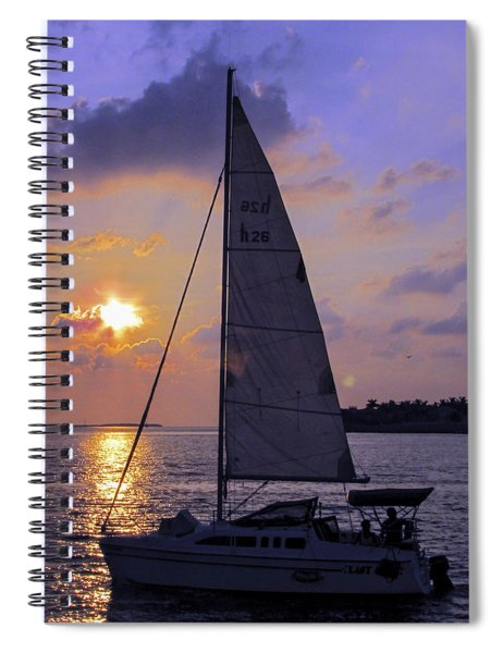 Sailing Home Sunset In Key West Spiral Notebook