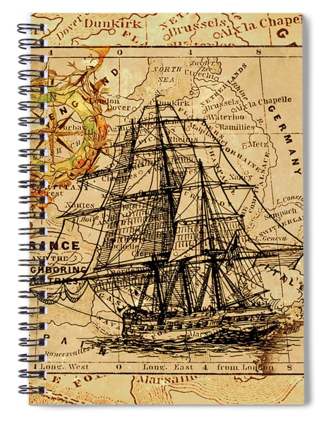 Sailing Ship Map Spiral Notebook