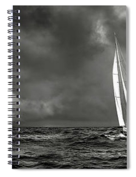 Sailing The Wine Dark Sea In Black And White Spiral Notebook