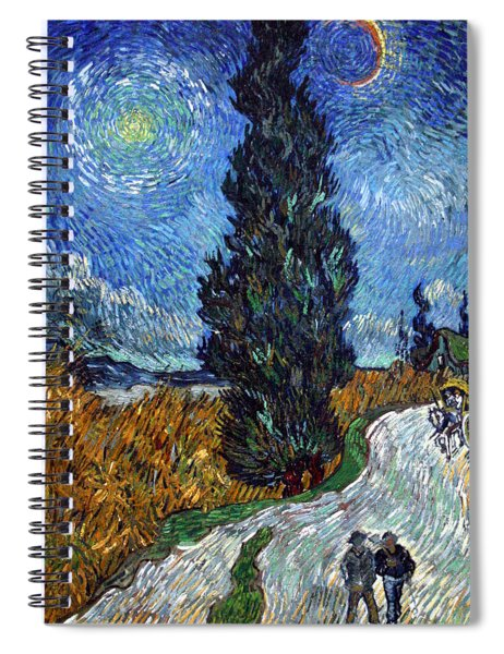 Saint-remy Road With Cypress And Star Spiral Notebook