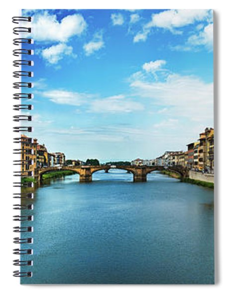 Panoramic View Of Saint Trinity Bridge From Ponte Vecchio In Florence, Italy Spiral Notebook