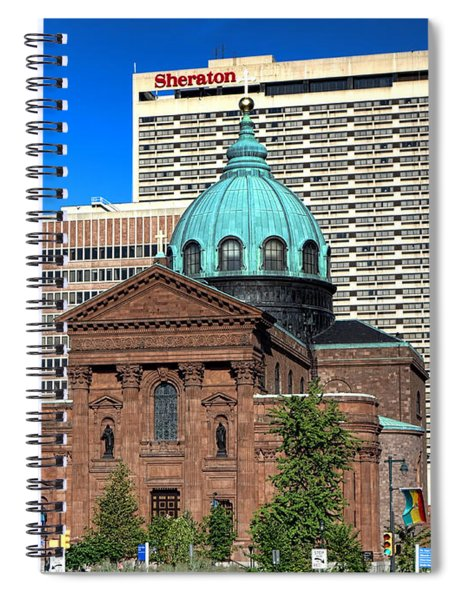 Saints Peter And Paul And Sheraton Hotel In Philadelphia  Spiral Notebook