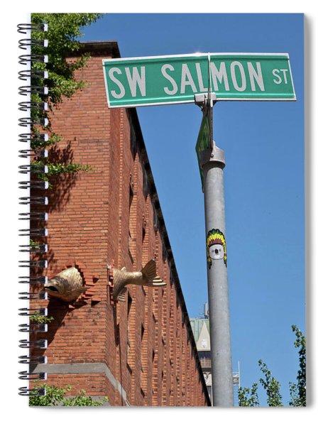 Salmon Through A Building Spiral Notebook