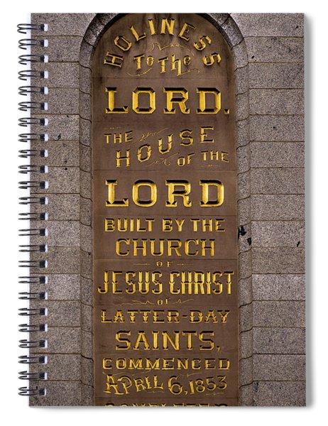 Salt Lake Lds Temple Dedication Plaque Close-up Spiral Notebook