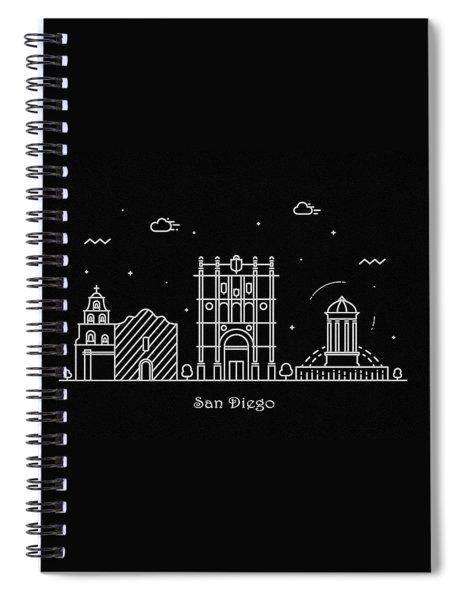 San Diego Skyline Travel Poster Spiral Notebook