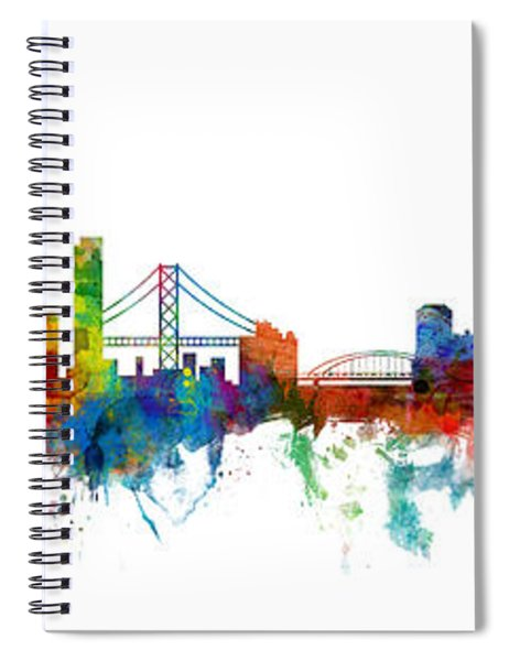 San Francisco And Pittsburgh Skylines Mashup Spiral Notebook