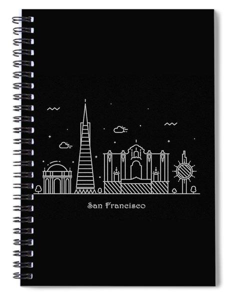 San Francisco Skyline Travel Poster Spiral Notebook