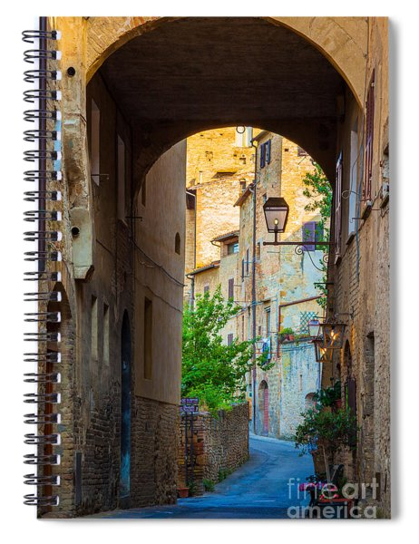 Spiral Notebook featuring the photograph San Gimignano Archway by Inge Johnsson