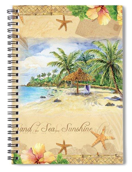 Sand Sea Sunshine On Tropical Beach Shores Spiral Notebook