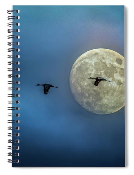 Spiral Notebook featuring the photograph Sandhill Cranes With Full Moon by Patti Deters