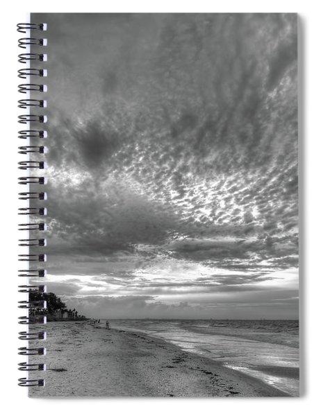 Sanibel Island Sunrise In Black And White Spiral Notebook