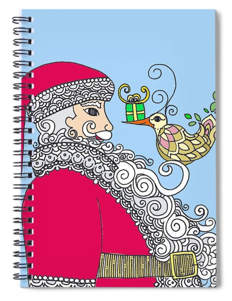 Santa And Bird On Blue Spiral Notebook