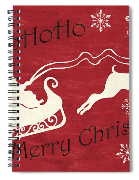 Santa And Reindeer Sleigh Spiral Notebook
