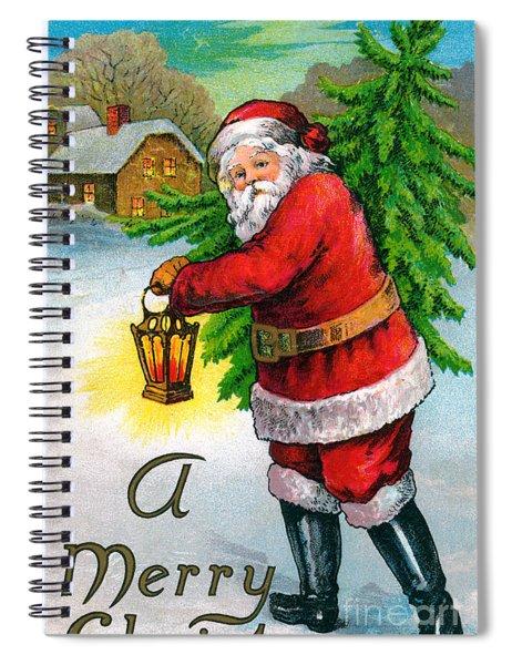 Santa Carrying A Christmas Tree Spiral Notebook