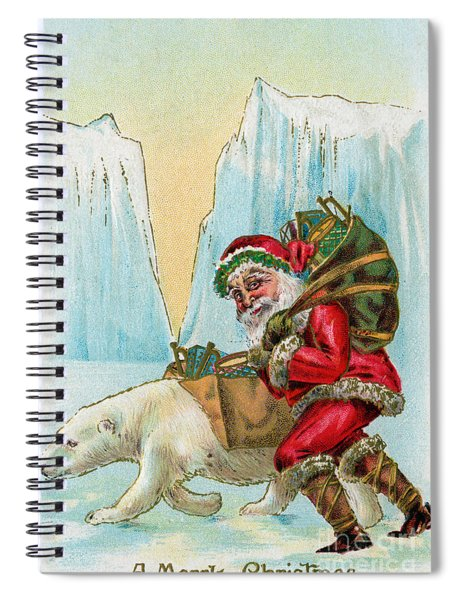 Santa Claus With A Polar Bear At The North Pole Spiral Notebook