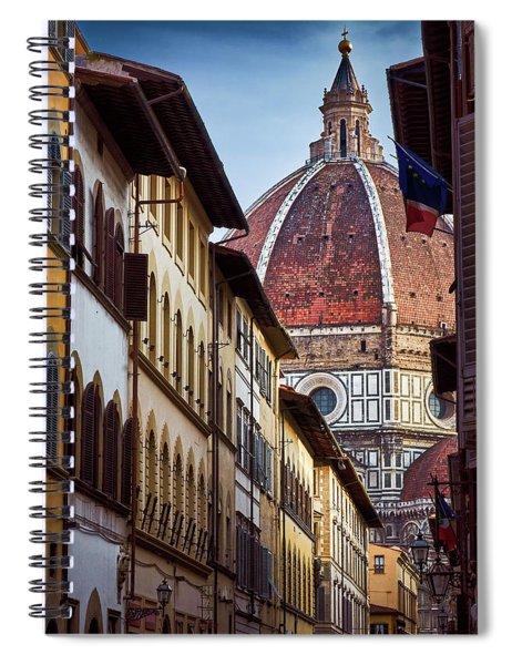 Santa Maria Del Fiore From Via Dei Servi Street In Florence, Italy Spiral Notebook