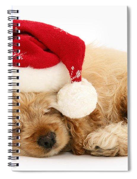 Santa's Sleepy Spaniel Spiral Notebook