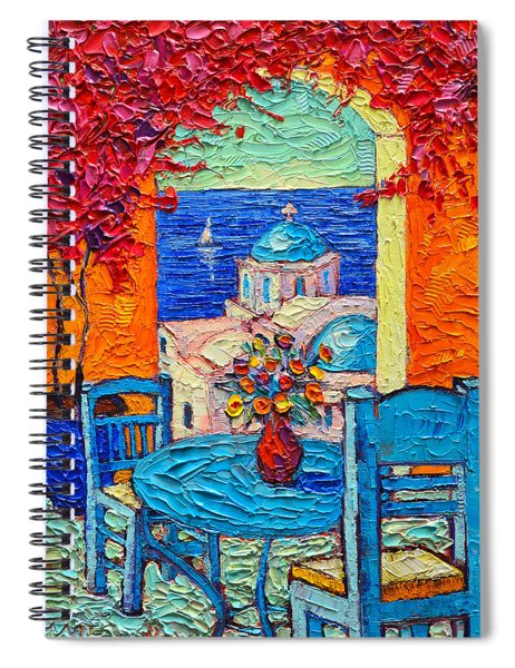 Santorini Dream Greece Contemporary Impressionist Palette Knife Oil Painting By Ana Maria Edulescu Spiral Notebook